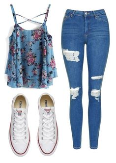 A fashion look from July 2017 featuring Chicwish tops, Topshop jeans and Converse sneakers. Browse and shop related looks. Teenage Girl Outfits, Girls Fashion Clothes, Teen Fashion Outfits, Cute Fashion, Cute Outfits For School For Teens, Edgy Teen Fashion, Middle School Outfits, Girly Girl Outfits, Petite Fashion