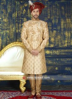 Attractive Zari and Stone Work Sherwani Groom Wedding Dress, Wedding Wear, Wedding Dresses, Mens Sherwani, Marriage Dress, Stone Work, Lehenga Choli, Girls Wear, Indian Dresses
