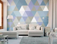 Multi-Coloured Geometric Triangles Brayden Studio Size: W x L Photo Wallpaper, Wall Wallpaper, Geometric Wallpaper Murals, Triangle Wall, World Map Wall, Geometric Designs, Flower Wall, Modern Wall, Triangles