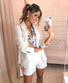 Put on to Work Style, one designer piece of looks. White Blazer Outfits, Blazer Outfits For Women, Casual Skirt Outfits, Short Outfits, Classy Outfits, Summer Outfits, Cute Outfits, White Blazers, Green Blazer