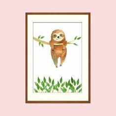Print/ Druck /Poster A4 für Kinder Faultier Nr.1Süßer Print für das Kinderzimmer. Zeichnung Waschbär. Dieses kleine Faultier gibt es noch in anderen Versionen im Shop. Größe ca. 21x29cm...