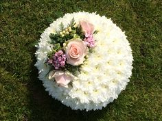 funeral posy pad - white chrysanthemum based with floral spray - created by Willow House Flowers - Aylesbury florist - www.willowhouseflowers.co.uk
