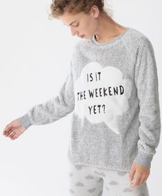 Weekend long-sleeve sweatshirt - New In - SLEEP | Autumn Winter 2016 - Oysho United Kingdom