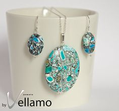 Jewelry set with earrings and pendant with beautiful mosaic stones by byVellamo, $39.00