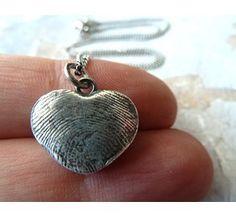 Personalized Fine Silver Fingerprint Heart Pendant