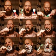 How a man brushes his teeth. Hilarious