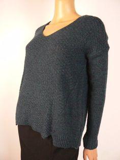 5cea937f4d6 Ann Taylor Loft Green Blue Wool Blend Vneck Oversized Sweater XS 0 2 NEW  A893