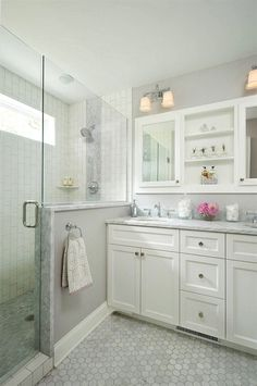 """Here's the rest of the """"small dimension"""" bathroom. I think this could be great for the downstairs bath. #BathroomShower Kitchen Cabinets, Kitchen Cabinetry, Kitchen Base Cabinets, Dressers"""