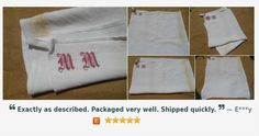 Rustic Victorian White Hemp Dish Cloth French Kitchen Towel Handmade Red Monogrammed https://www.etsy.com/listing/244796179/…