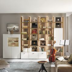 Contemporary living room wall unit / oak NURIA  hülsta