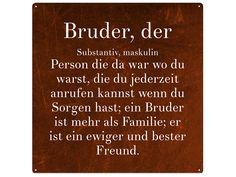 Vintage METALLSCHILD Blechschild BRUDER Wandschild von Interluxe via dawanda.com