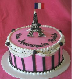 super cute pink, black, striped, polka dot birthday Eiffel tower cake!