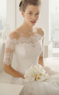Show details for A-Line/Princess Off-Shoulder Lace with Sequins and Crystals Wedding Gown (#RCW140001)