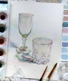 Все оттенки стеклянных предметов получились путем смешивания, в разном сочетании, трех основных цветов - красного, желтого, синего. Обычно использую карминовую, лимонную и берлинскую лазурь.  .  #aquarelle #акварель #стеклянныепредметы #стеклоакварелью #одинденьсхудожником #рисуюкаждыйдень #aquarelle #watercolor #painting #акварель #watercolorpainting #process_of_creativity #сейчас_рисую #art_public #topcreator #etudesite #inspiring_watercolors #art_instablog