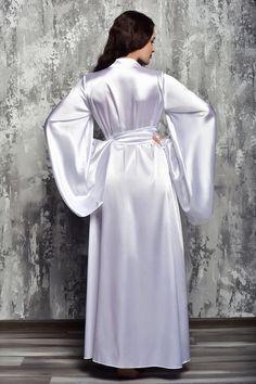 White Bridal Robe, Bridal Robes, Wedding White, Bridal Lace, Satin Nightie, Satin Lingerie, Wedding Lingerie, Wedding Kimono, Gown Photos