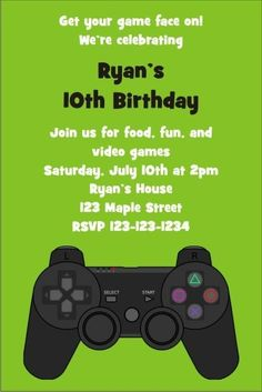 Playstation Xbox Video Game Invitation Personalized Party Invites Truck