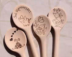 Best Wishes Personalised Wooden spoon hand engraved burning wood (Surprise your friend)