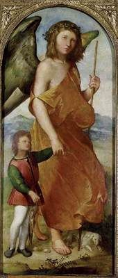 MELONE, Altobello (b. ca. 1485, Cremona, d. ca. 1543, Cremona) Click! Tobias and the Angel 1521-23 Oil on panel, 112 x 48 cm Ashmolean Museum, Oxford This panel was part of a large altar-piece, probably made for a church in Cremona in the early 1520s, of which the centre panel with The Virgin and Child and the predella with scenes from the life of St Helena are known.
