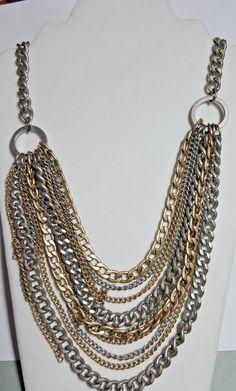 Gothic Rustic Silver Gold Tone Chain Necklace Halloween Accessory Punk Rock Loft #LOFT #Chain