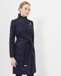 Manteau wrap long - Bleu marine | blousons et manteaux | Ted Baker FR