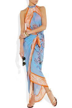Etro | Printed silk-chiffon beach dress | NET-A-PORTER.COM
