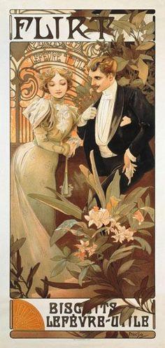 Alphonse Mucha - Poster advertising ''Flirt'' biscuits by ''Lefevre-Utile''
