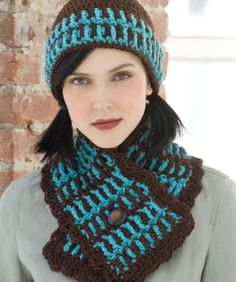 Yarnspirations is the spot to find countless free intermediate crochet patterns, including the Red Heart Lake House Hat & Scarf. Browse our large free collection of patterns & get crafting today! Crochet Adult Hat, Crochet Hat For Women, Crochet Cap, Crochet Woman, Crochet Beanie, Cute Crochet, Crochet Scarves, Crochet Shawl, Crochet Clothes