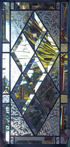 Antique Diamond Beveled Stained Glass Window - Free Shipping  Restored MADE TO ORDER