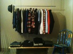How to Build a Hanging Clothing Rack with $20 worth of Home Depot Supplies -might come in handy