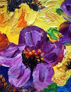 on SALE Oil Painting Flowers Yellow Purple Red by LUIZAVIZOLI
