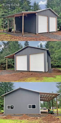 Metal Pole Barns, Metal Garage Buildings, Pole Barn Garage, Pole Buildings, Shop Buildings, Carport Plans, Carport Garage, Garage Plans, Shed Plans
