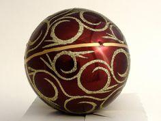 Christmas ornament hand painted glass ball vine gold by aniamelisa, $16.90