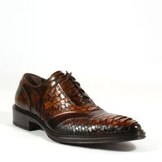 Jo Ghost Italian Piton Crust Marmo Colorado Top Noce Mens Oxfords (JG2003) Material: Authentic Python / Leather Color: Brown Outer Sole: Leather Comes with original box and dustbag. Made in Italy. 3233M
