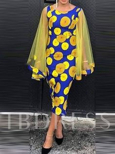 Ericdress Long Sleeve Mid-Calf Patchwork Pullover Dress , formal dresses maxi dresses womens dresses summer dresses party dresses long dresses casual dresses dresses for wedding , # African Fashion Ankara, Latest African Fashion Dresses, African Print Dresses, African Print Fashion, Long African Dresses, Latest Fashion, Fashion Trends, Ankara Gown Styles, Ankara Dress