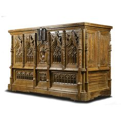 An important large French Gothic carved oak chest, probably Normandy early 16th century SOLD. 72,500 GBP