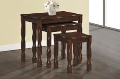 Black Cherry Solid Wood 3Pcs Nesting Table Set