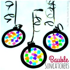 Christmas Bauble Suncatchers are a great way to add colour to your setting. They are fun and simple to create making them the perfect craft for Toddlers and Preschoolers. Free Download Available.
