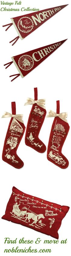 CLICK TO BUY Vintage Felt Pennants, stockings and pillows all available in limited quantities now at www.nobleniches.com.  Visit us on Saturday 11/14 for an online Christmas Open House! #nobleniches #vintageChristmas #retroChristmas #feltornament #stocking #ornament #pennant #Christmaspennant #northpole #SantaClaus #feltpillow #Christmaspillow #Christmasdecor #homestyles #minthill #minthillChristmas