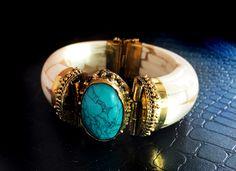Turquoise Stacking Bangle bracelet,Statement Bangle,rare Ivory bone…