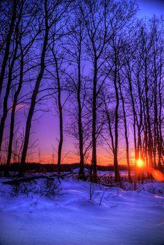 A wintery sunset in rural Saskatchewan, Canada
