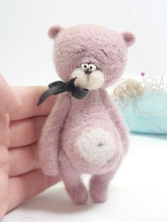 Collectible needle felted teddy bear Vessop . Artist by Agafil
