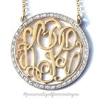CZ Round Rimmed Monogram Necklace