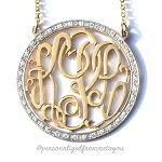 CZ Round Rimmed Monogram Necklace