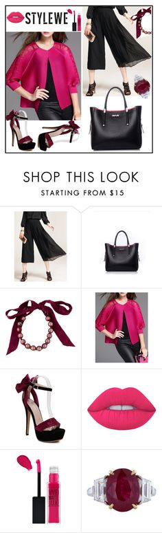 """stylewe 10"" by camila-632 ❤ liked on Polyvore featuring Lanvin, Lime Crime, Maybelline and stylewe"