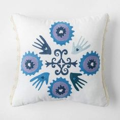 Justina Blakeney for Makers Collective Blue Heart in Hand Square Throw Pillow