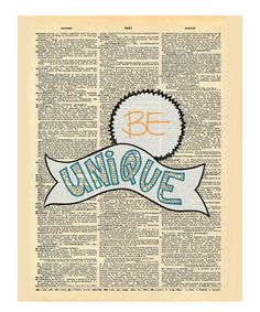 Another great find on #zulily! 'Be Unique' Dictionary Print #zulilyfinds