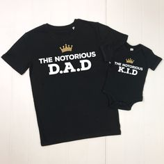 Notorious Father And Child Matching T Shirt Set by Lovetree Design, the perfect gift for Explore more unique gifts in our curated marketplace. Funny Dad Shirts, Father's Day T Shirts, Dad To Be Shirts, Cool Shirts, T Shirts For Women, Real Big, Black Fathers, New Daddy, Love Dad