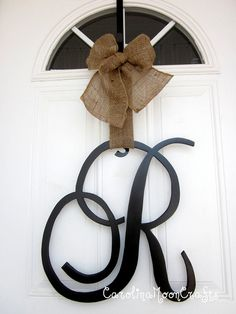 Single Letter Monogram Wooden Door Decor 18 inches by CarolinaMoonCrafts