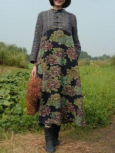 ZHI Vintage Patchwork Plate Buckle Long Sleeve Maxi Dresses