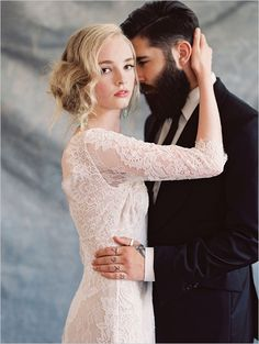 One sharp groom and a dress from the Claire Pettibone Romantique Collection #yaynaythedress http://www.weddingchicks.com/2014/11/22/yaynaythedress-claire-pettibone/